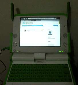 Picture of Chamilo 1.8.8.4 server on the OLPC's XO